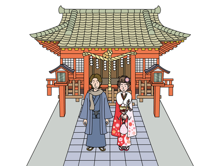 Young man and woman in New Year's visit 1