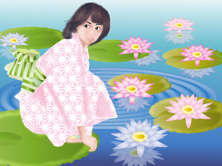 Yukata and water lily 03