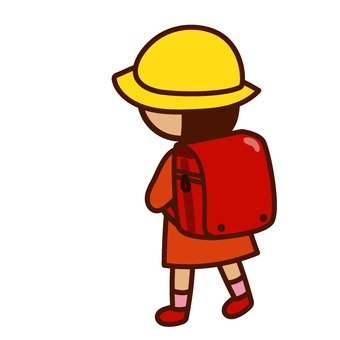 A girl in a school bag