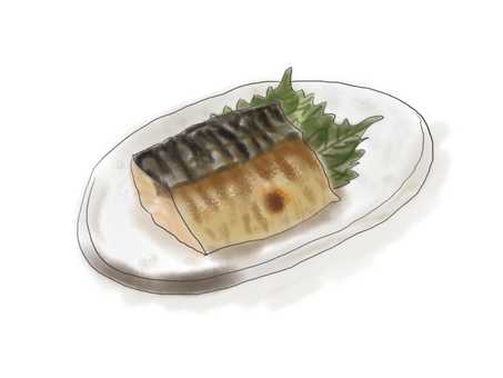 Mackerel grilled with salt