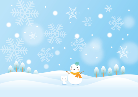 Winter scene of snowman and kittens
