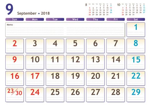 2018年カレンダー 9月