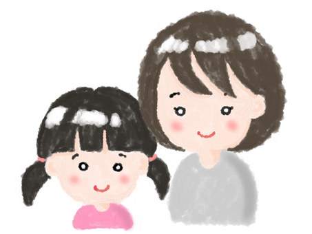 Mom and girl (crayon touch)