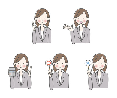 Female office worker with various expressions