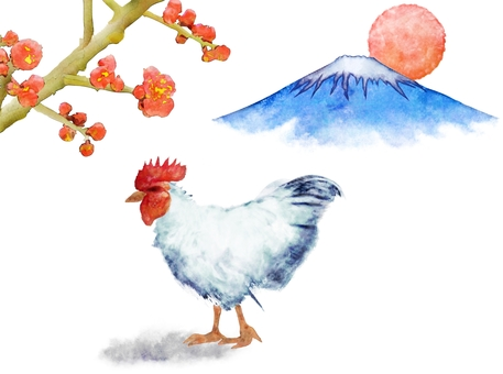 Chicken and plum and Mt. Fuji and the first sunrise watercolor painting