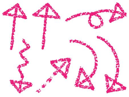 필기 크레용 계 바사 바사 화살표 핑크