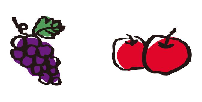 手描き りんご ぶどう