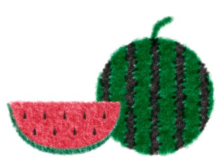 西瓜水彩插图