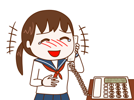 Female student laughing at phone