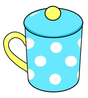 Polka dot mug with a lid