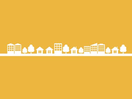 街 街並み シルエット 黄色