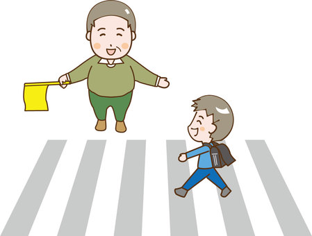 A boy crossing a pedestrian crossing and an old man with a flag