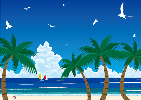 ヤシの木とビーチリゾート 南国の楽園