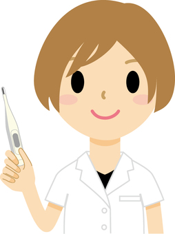 A woman with a thermometer (doctor)