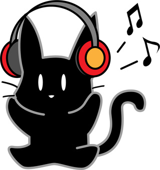 Black cat listening to music with headphones