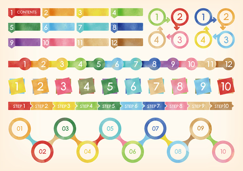 Watercolor touch number set