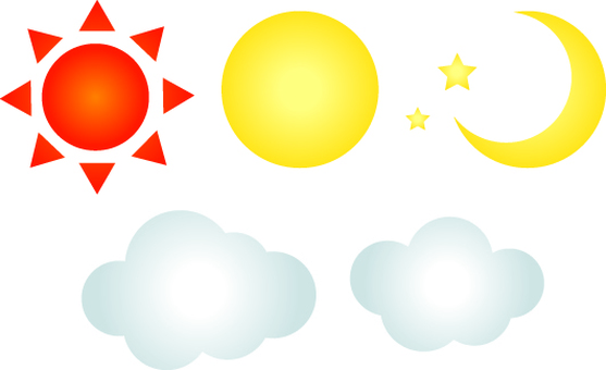 Sun, moon and cloud