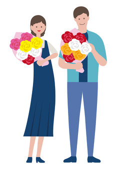 Illustration set of people with bouquets