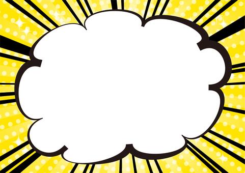 黄色の集中線キラキラ吹き出し背景素材