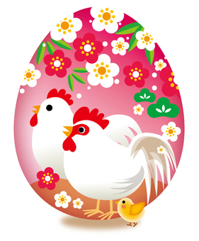 Chicken parent and child of egg background