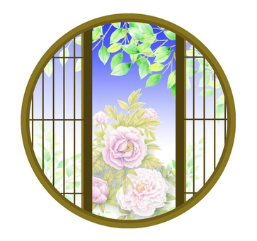 Peony from a round window ★ 0136-M