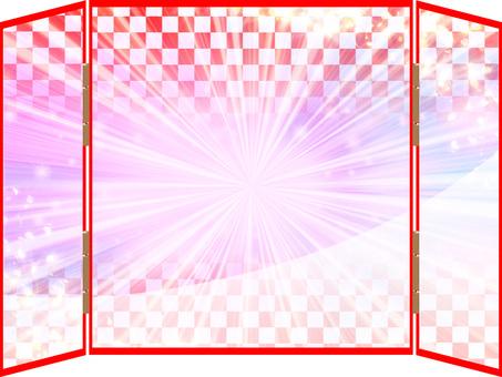 Luxurious checkered folding screen 02