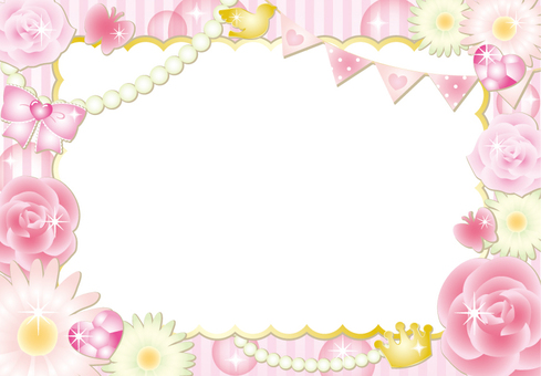 Girly Flower Striped Frame (Pink)