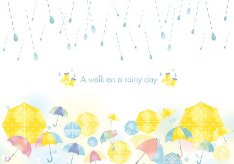 Watercolor rainy season and umbrella