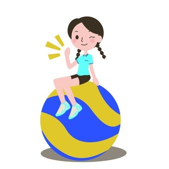 A woman sitting on volleyball