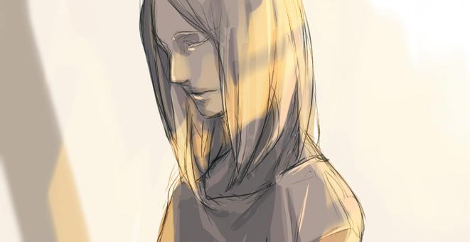 Melancholy woman