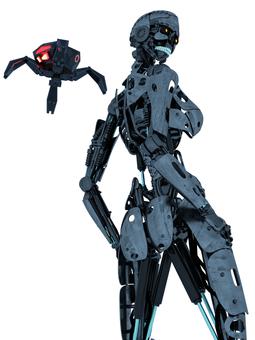 骨格のみロボットとドローン