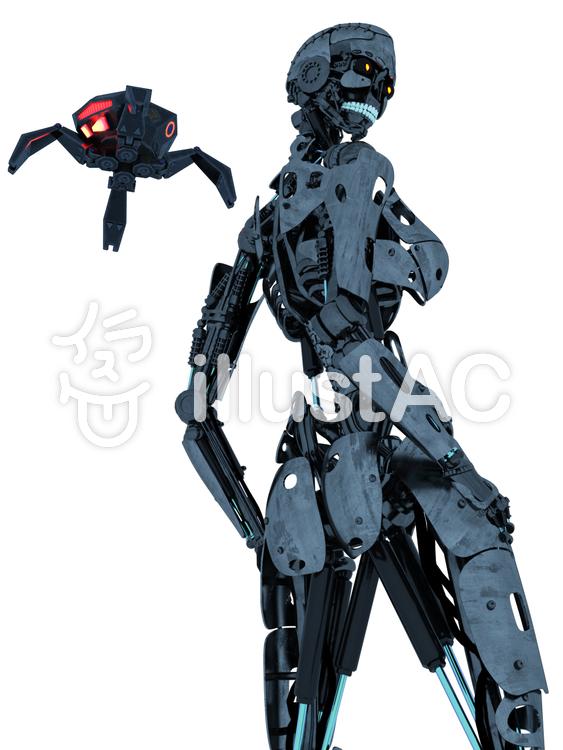 骨格のみロボットとドローンのイラスト