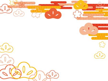 Japanese style cherry tree and pine orange