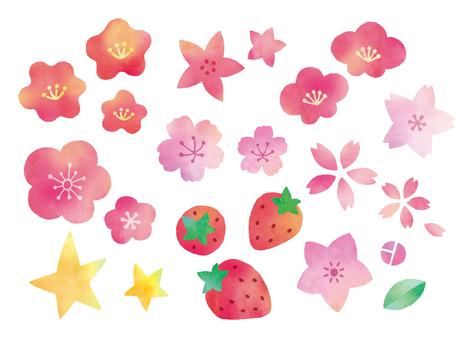 梅桃桜星など水彩