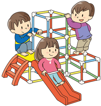 Jungle gym, three children
