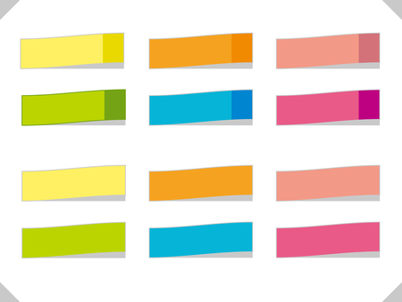 Color sticky note illustration frame set 03