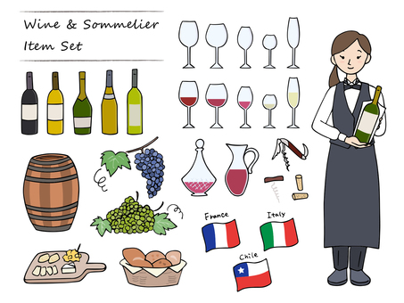 Wine & sommelier illustration set / hand drawn