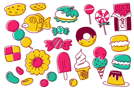 [Handwritten illustration] Sweets set