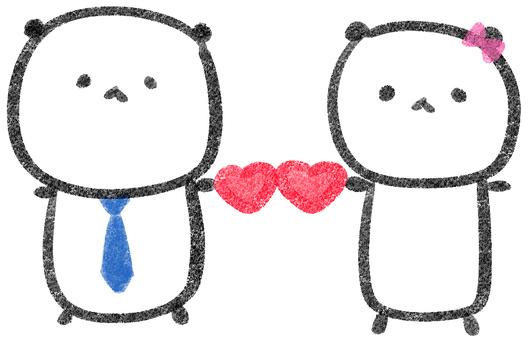 Loose panda heart / tie ribbon