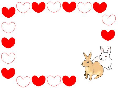 Cuddling rabbit heart frame