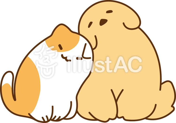 仲良しラブラブな犬と三毛猫イラスト No 1015889無料イラストなら