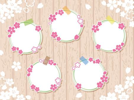나뭇결에 벚꽃 화환 카드 01