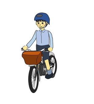 A boy riding a bicycle wearing a helmet