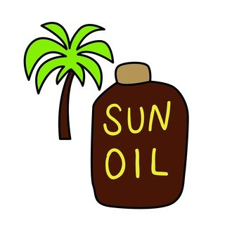 Palm trees and sun oil