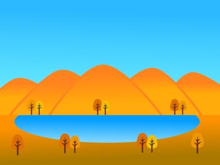 Autumn mountain and lake landscape