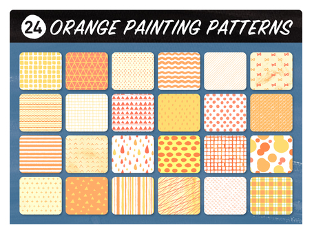 Hand-drawn wind seamless pattern 【Orange】