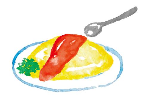 """""""水彩風格""""煎蛋飯"""