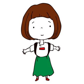 Girl with green long skirt