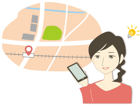 Sister who tied her hair-smartphone map