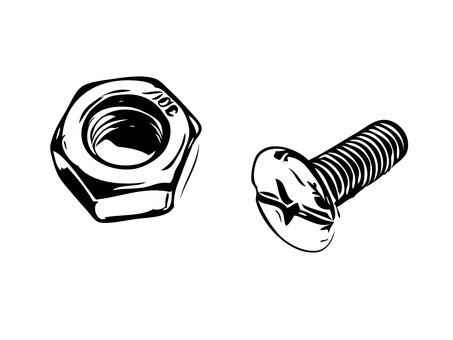 Line drawing Bolt & Nut